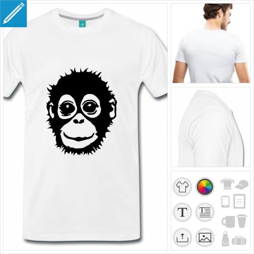 t-shirt homme singe à personnaliser, impression unique