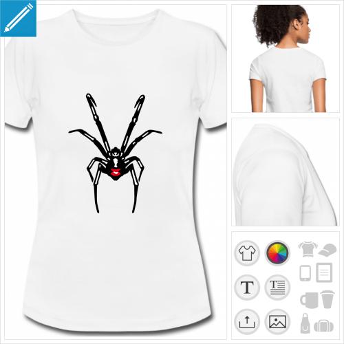 t-shirt blanc araignée à créer soi-même