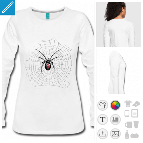 t-shirt manches longues toile d'araignée à personnaliser et imprimer en ligne