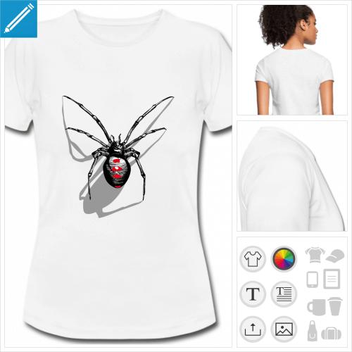 t-shirt femme spider personnalisable, impression à l'unité