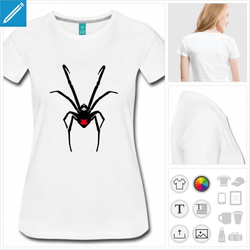 t-shirt araignée à personnaliser, impression unique