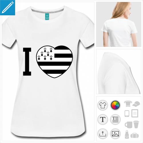 t-shirt manches courtes coeur breton personnalisable