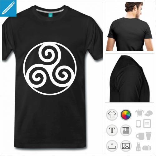 T-shirt Bretagne, symbole spirales entouré d'un cercle. Créez votre t-shirt triskel.