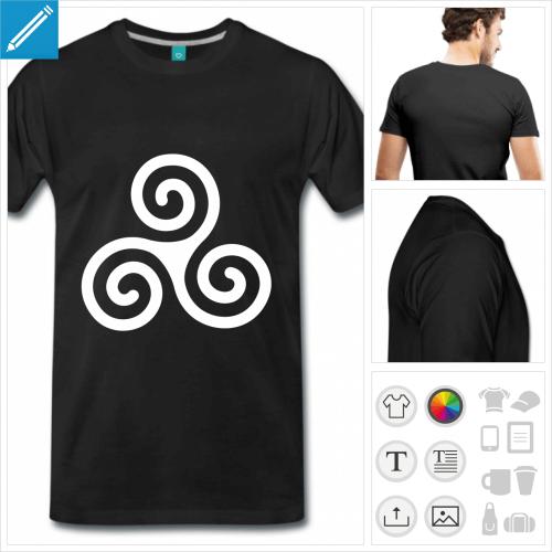 T-shirt breton symbole triskel à trois spirales à imprimer en ligne.
