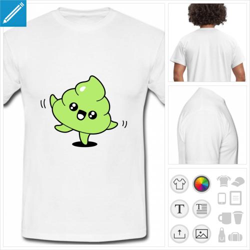 t-shirt simple caca personnalisable, impression à l'unité