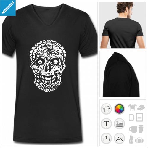 t-shirt tête de mort à personnaliser, impression unique