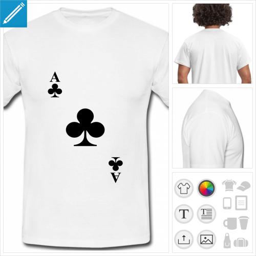 t-shirt basique carte à jouer à personnaliser, impression unique