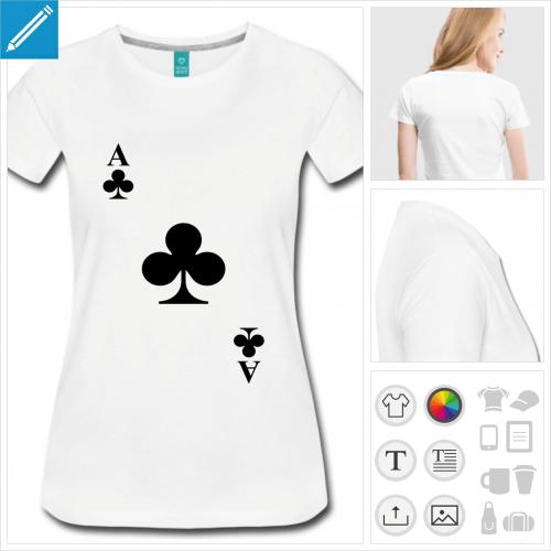 t-shirt femme carte à jouer à personnaliser et imprimer en ligne