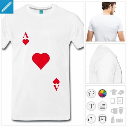 T-shirt carte de jeu, as de cœur diagonale à imprimer en ligne.