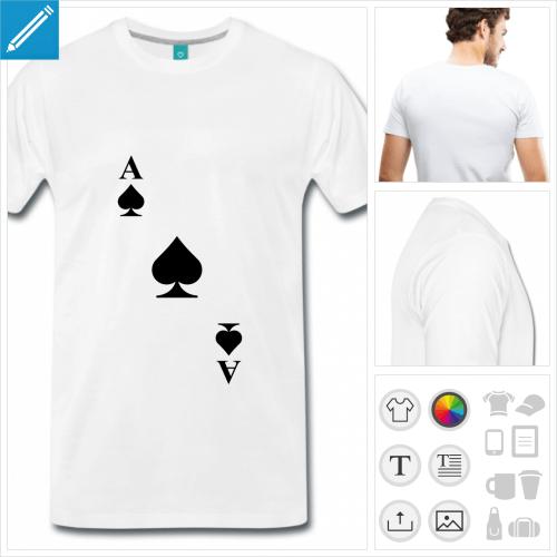 t-shirt blanc as de pique à personnaliser