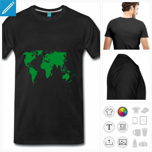 T-shirt carte du monde, motif planète à imprimer en ligne. Carte personnalisable.