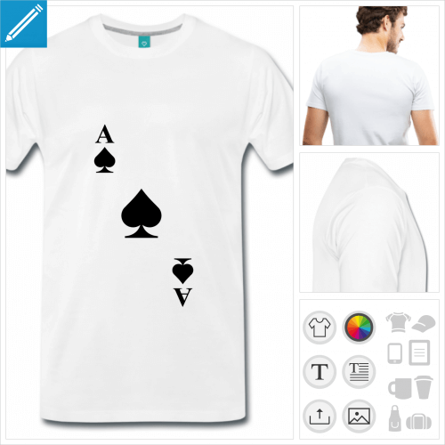 T-shirt carte pique au design diagonal à imprimer en ligne