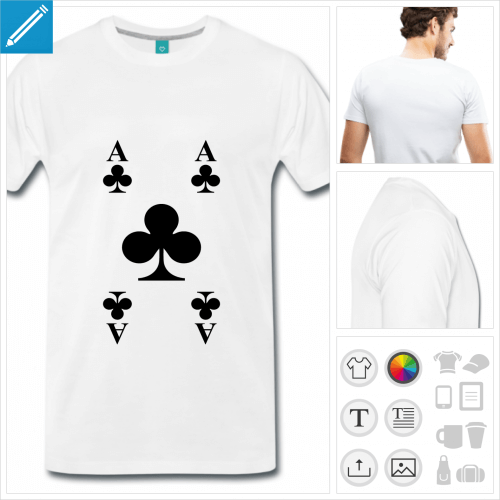 T-shirt carte trèfle, carte de jeu personnalisable à imprimer en ligne.