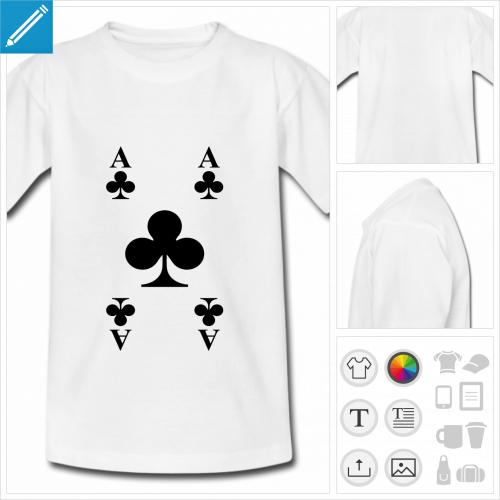 t-shirt ado cartes de jeu à personnaliser, impression unique