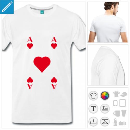 t-shirt homme cartes à jouer personnalisable, impression à l'unité