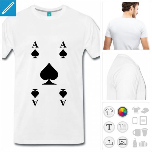 t-shirt cartes à jouer personnalisable, impression à l'unité