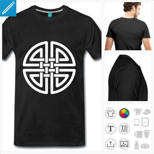 T-shirt celte, nœud celtique rond à 4 boucles à imprimer en ligne.