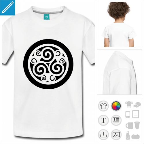t-shirt pour enfant celte personnalisable, impression à l'unité