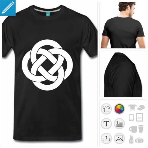 T-shirt celtique, boucles celtes entrelaçées à imprimer en ligne. Choisissez votre couleur.