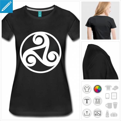 T-shirt celtique, triskèle décoratif à personnaliser et imprimer en ligne.