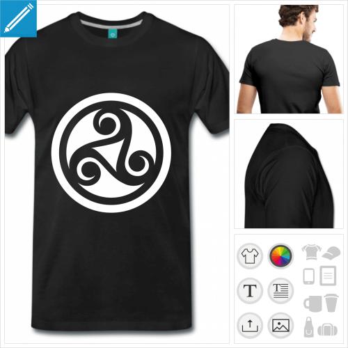 T-shirt celtique, triskèle inversé et cerclé découpé dans un rond presonnalisable.