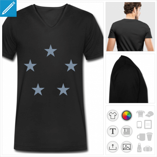 t-shirt cercle étoiles à créer soi-même