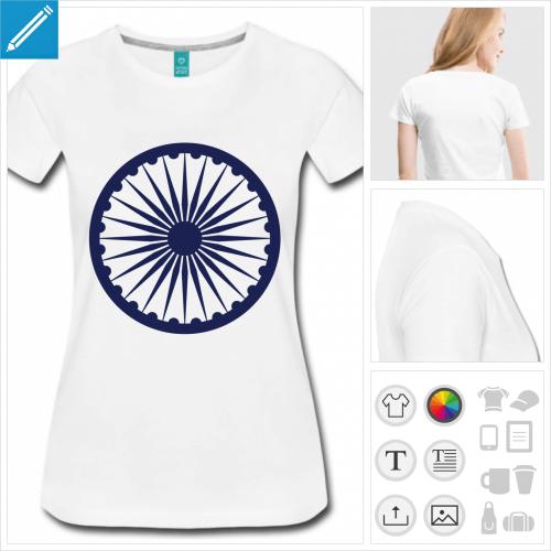 t-shirt femme drapeau Inde à personnaliser, impression unique