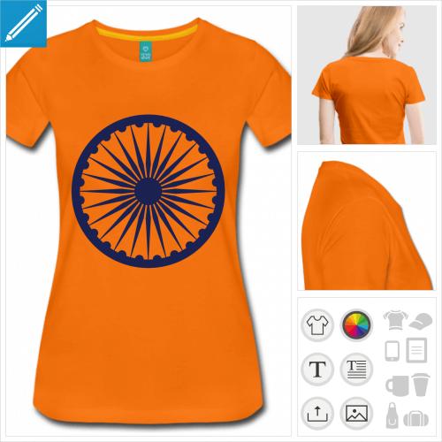 t-shirt femme manches courtes drapeau Inde à personnaliser en ligne