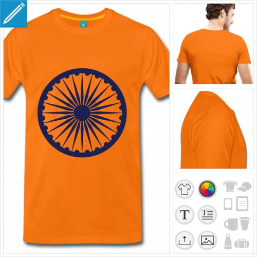 tee-shirt chakra Inde personnalisable, impression à l'unité