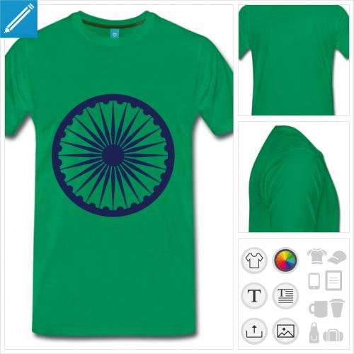 t-shirt simple drapeau Inde à créer en ligne