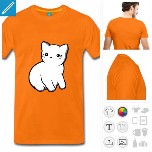 T-shirt chat kawaii de profil à imprimer en ligne.