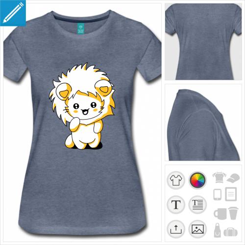 t-shirt basique chat kawaii à imprimer en ligne