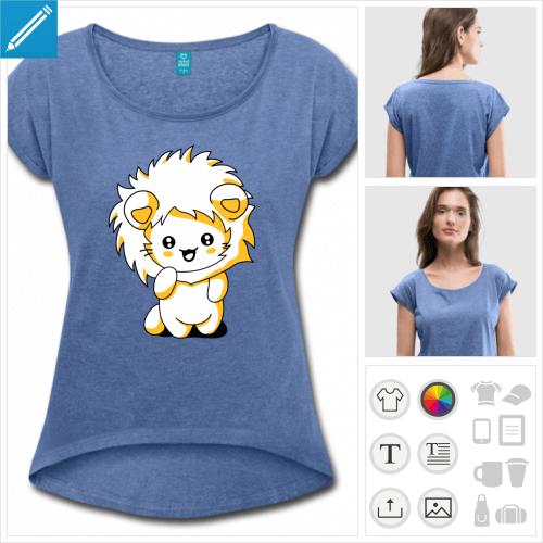 t-shirt bleu chat à personnaliser et imprimer en ligne