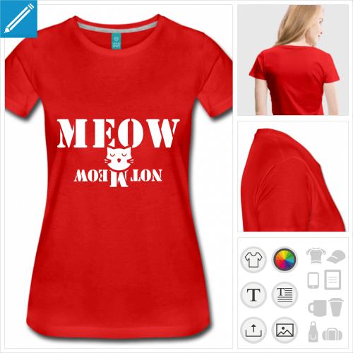 T-shirt chat de Schrödinger, chat stylisé disant meow ou not meow suivant le sens de lecture.