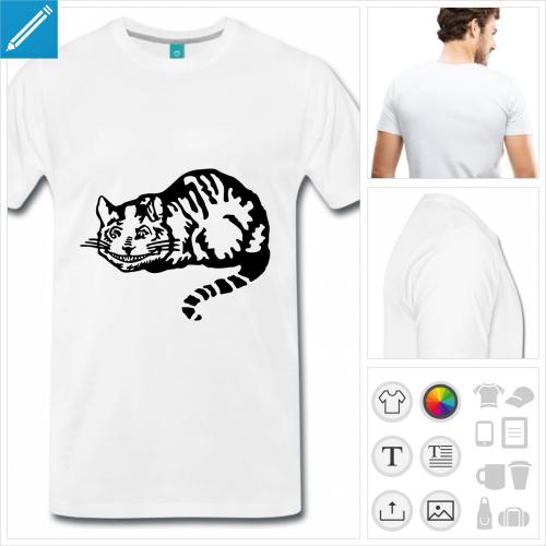 T-shirt chat du cheshire à personnaliser et imprimer en ligne.