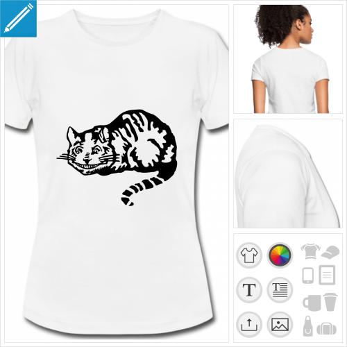 t-shirt blanc cheshire cat à personnaliser et imprimer en ligne