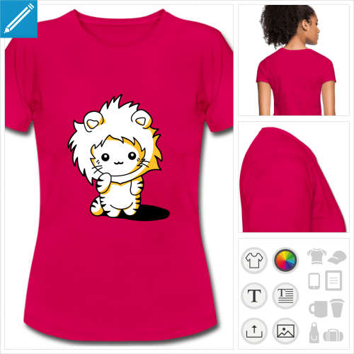 t-shirt rose chaton kawaii à créer en ligne