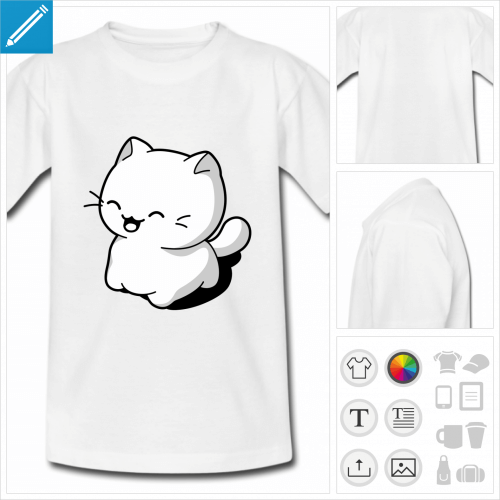 t-shirt blanc basique chat kawaii personnalisable