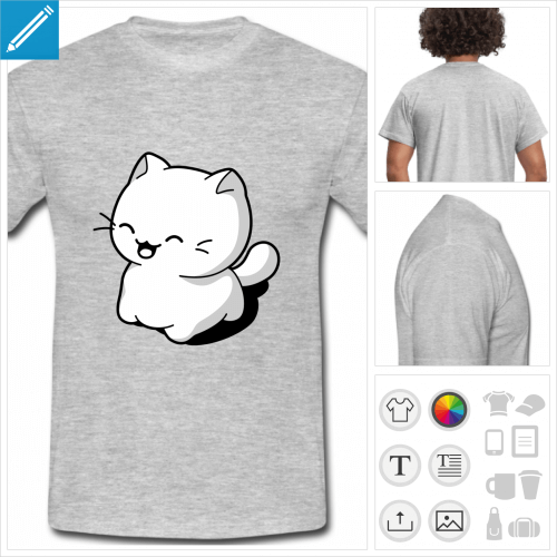 tee-shirt chaton kawaii à personnaliser et imprimer en ligne