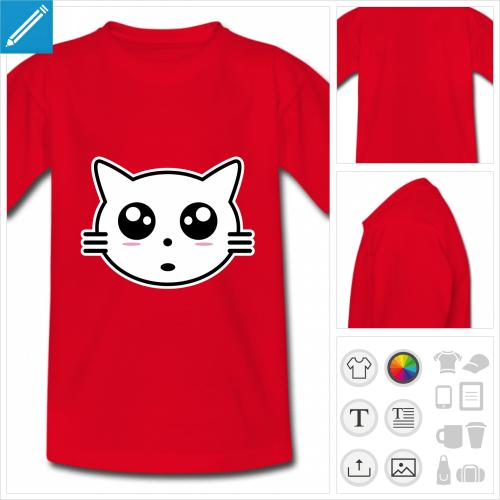 t-shirt simple chat kawaii personnalisable, impression à l'unité