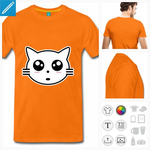 T-shirt chaton, tête de chaton stylisée en style manga à imprimer en ligne.