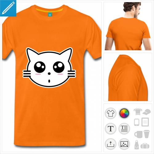 T-shirt chaton, tête de chat stylisée en style kawaii à imprimer en ligne.