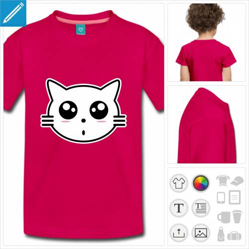 t-shirt à manches courtes chaton à personnaliser en ligne