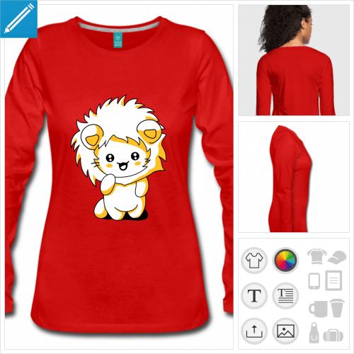 t-shirt rouge chaton kawaii à personnaliser en ligne