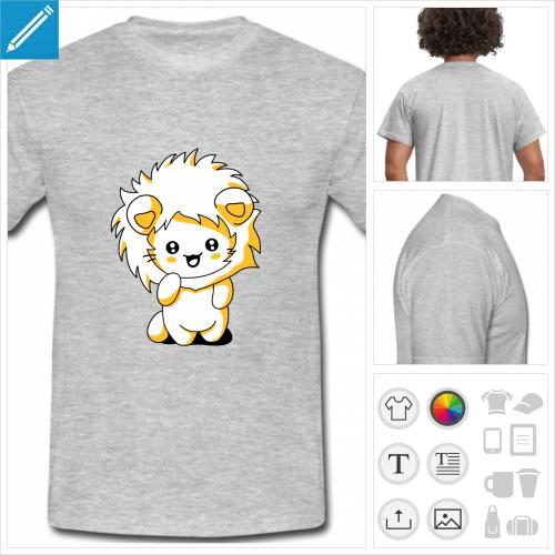 t-shirt gris clair chaton à imprimer en ligne