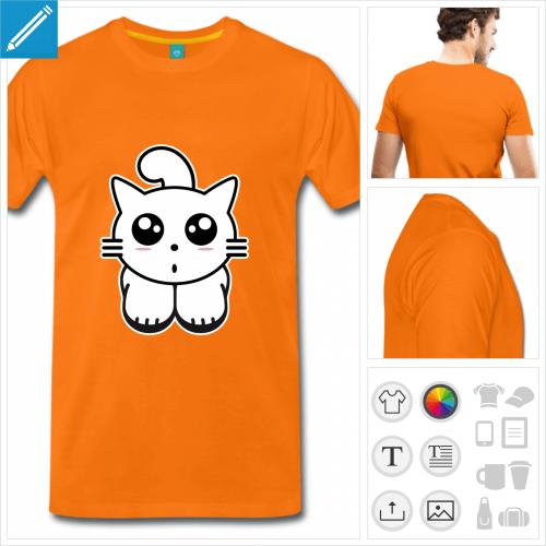 T-shirt chaton kawaii rigolo dessiné de face en couleurs personnalisables.