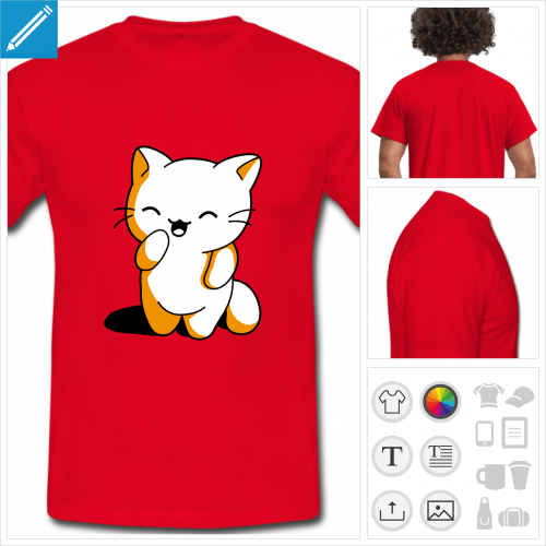 t-shirt chaton kawaii personnalisable