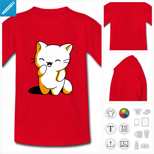 tee-shirt rouge chaton personnalisable