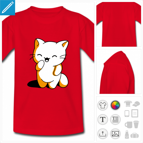 t-shirt basique chaton kawaii à créer soi-même