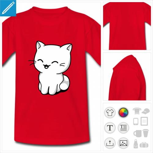 tee-shirt pour enfant chaton personnalisable, impression à l'unité